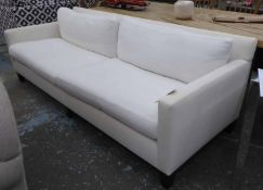 BEN WHISTLER LTD SOFA, ivory white fabric finish, 240cm W. (with faults)