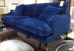 SOFA, Howard style, in midnight ink blue velvet upholstery with two scatter cushions on turned