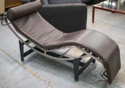 AFTER LE CORBUSIER, JEANNERET AND PERRIAND LC4 STYLE CHAISE LONGUE, brown leather and chrome on