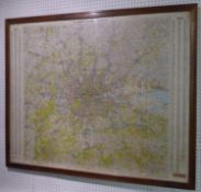 MAP OF LONDON, vintage 20th century, framed and glazed, 120cm x 94cm.