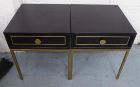SIDE TABLES, a pair, 1970's Italian style, ebonised and gilt one drawer on each, 40cm x 40cm x 49cm.