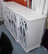 SIDEBOARD, Hamptons style, of breakfront form, white finish, with mirrored doors, 93cm H x 50cm D