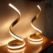 HELIX TABLE LAMPS, a pair, contemporary design, 46cm H. (2)