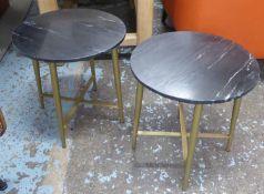 SIDE TABLES, a pair, black marble tops, 44.5cm x 43cm diam. (2)