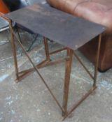 CONSOLE TABLE, metal mid 20th century Belgian industrial, 82cm x 43cm x 78cm H.