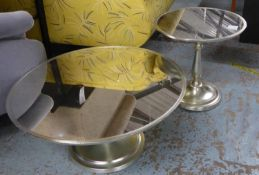 LOW TABLES, a set of two, mirrored and circular, 80cm x 39cm H and a lamp table to match, 50cm x
