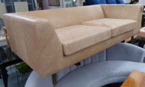 ATTRIBUTED TO CONRAN SOFA, brown leather upholstered, 200cm W.
