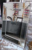 WALL MIRROR, French Art Deco style, bevelled plate, 122cm x 90cm.