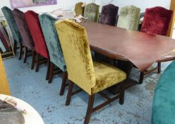 DINING CHAIRS, a set of ten, in five differing colours of shimmering crushed velvet upholstery on