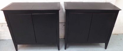 SIDE CABINETS, a pair, contemporary ebonised finish, 90cm x 40cm x 89cm. (2)