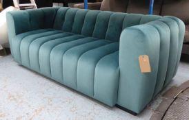 SOFA, contemporary green velvet upholstered, 200cm W x 93cm D x 71.5cm H approx.