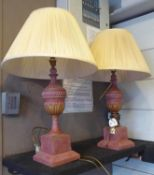 ROCHAMP LTD TABLE LAMPS, a pair, with shades, urn form, 73cm H. (2)