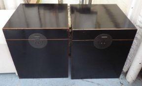 TRUNKS, a pair, Chinese Shanxi style, ebonised finish, 50cm x 50cm x 62cm. (2) (slight faults)