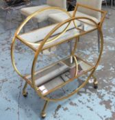 DRINKS TROLLEY, French art Deco style, gilt metal, 76cm H x 70cm W x 36cm D approx.