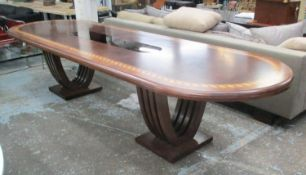DINING TABLE, burr walnut with inlaid leaf border and smoked mirrored central panel, 345cm x 105cm x