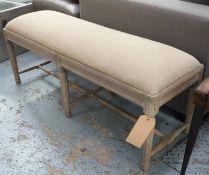 WINDOW SEAT, limed frame, linen upholstered, 120cm x 40cm x 50cm.
