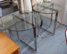 SIDE TABLES, a pair, contemporary design, polished metal, with tempered glass tops, 73cm H (slight