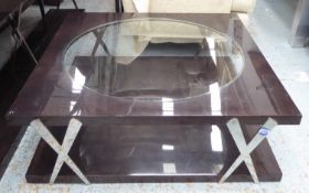 LOW TABLE, contemporary design, with central glass window detail, 120cm x 121cm x 40cm approx. (with