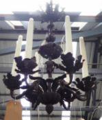 CEILING PENDANT LIGHT, six branch, metal oak leaf design, 70cm drop. (slight faults)