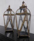 LANTERNS, a pair, gilt metal and glass, 70cm H. (2)