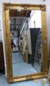 MIRROR, Continental style gilt frame, 120cm x 207cm approx.