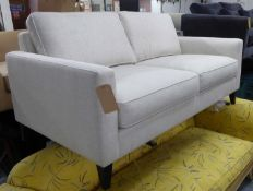 SOFA, contemporary neutral upholstery, on ebonised supports, 170cm W.