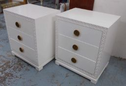 SIDE CHESTS, a pair, white with greek key border and two drawers with decorative handles, 71cm x