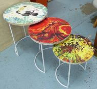 NEST OF TABLES, two sets of three, tropical print tops, 46cm x 42cm diam. (6) (slight faults)