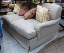 SOFABED, Howard style, in a light blue fabric, approx 185cm L x 97cm D.
