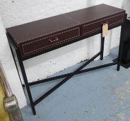 CONSOLE TABLE, contemporary design, leathered finish, 120cm x 35cm x 80cm. (with slight faults)