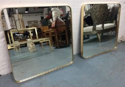 WALL MIRRORS, a pair, 1960's French style, gilt frames, 71cm x 71cm. (2)