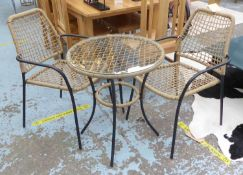 BISTRO DINING SET, faux rattan, metal and glass, includes two chairs and table. (3)