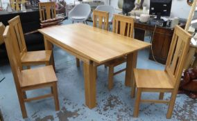 DINING SET, contemporary design, includes table and six chairs, table 180cm x 90.5cm x 76.5cm,