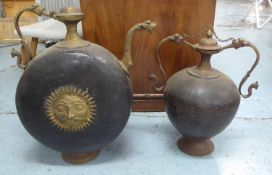 INDIAN BRASSWARE, including a teapot and water vessel, 63cm at largest. (with slight faults) (2)