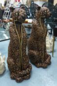 LEOPARDS, a pair, contemporary school studies, sequined finish with diamonte eyes, 78cm H. (2)