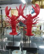 LOBSTERS, on stands, a pair, 58cm H. (2)