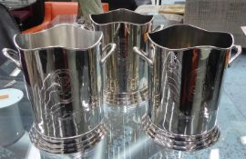 CHAMPAGNE BUCKETS, a set of three, stamped Louis Roederer, 24cm H x 24cm Diam. (3)