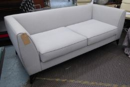 BESPOKE SOFA LONDON SOFA, grey fabric upholstered with satin piping, 198cm W approx.