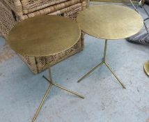 SIDE TABLES, a pair, French 1950's style, gilt metal. (2)