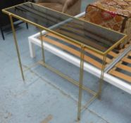 CONSOLE TABLE, smoked glass top, gilt metal frame, 107.5cm x 33.5cm x 79cm.