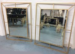 WALL MIRRORS, a pair, 1960's French style, 80cm x 62cm. (2)