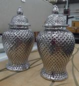 TEMPLE JARS, a pair, with covers, contemporary perforated ceramic design, 64cm H. (2)