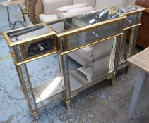 SIDEBOARD, mirrored with gilt accents, 140cm x 32cm x 90.5cm.