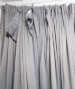 CURTAINS, two pairs, grey lined, each curtain approx 185cm W gathered x 320cm Drop. (4) (slight