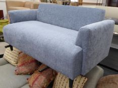 SOFA, contemporary blue fabric upholstered, ebonised feet, 145cm W approx.