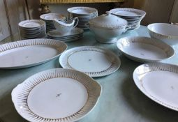 DINNER SERVICE, Limoges hand painted -Solar flair- 12 place 4 piece settings, approx 59 pieces. (