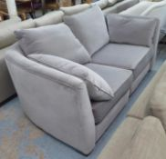 COLLINS & HAYES SOFA, grey velvet upholstered, 192cm W approx.