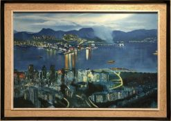 C K PANG 'Hong Kong', oil on canvas, 90cm x 59cm, signed and dated 74, framed.