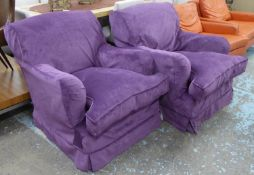 GEORGE SMITH ARMCHAIRS, a pair, with later loose purple cover upholstery, 78cm W approx. (2)