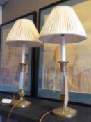 VAUGHAN TABLE LAMPS, a pair, brass and glass, with pleated shades, 53cm H. (2)